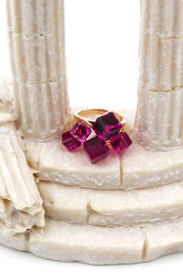 Ocean Fashion Noble purple square crystal ring Image 2