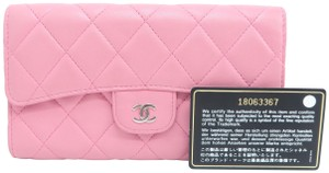 Chanel Chanel Pink Lambskin Quilted Trifold Wallet