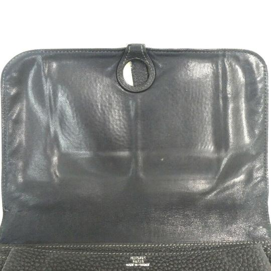 Hermes Auth Hermes Dogon Gm Square F Stamp Leather Wallet #1469H20 Image 3