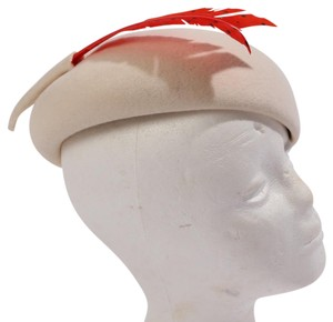 Frank Olive FRANK OLIVE Beige Red Feather Wool Hat