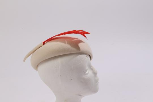 Frank Olive FRANK OLIVE Beige Red Feather Wool Hat Image 6