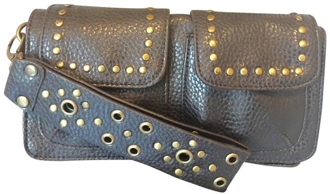 Item - Clutch Studded / Chocolate and Gold Wristlet