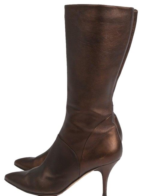 Item - Brown Leather Point Heels Boots/Booties Size US 7 Regular (M, B)