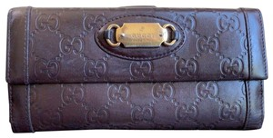 Gucci Guccissima Cocoa Brown Leather Continental Long Bifold Wallet 146199