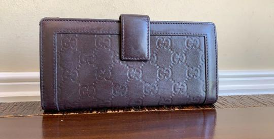 Gucci Guccissima Cocoa Brown Leather Continental Long Bifold Wallet 146199 Image 2