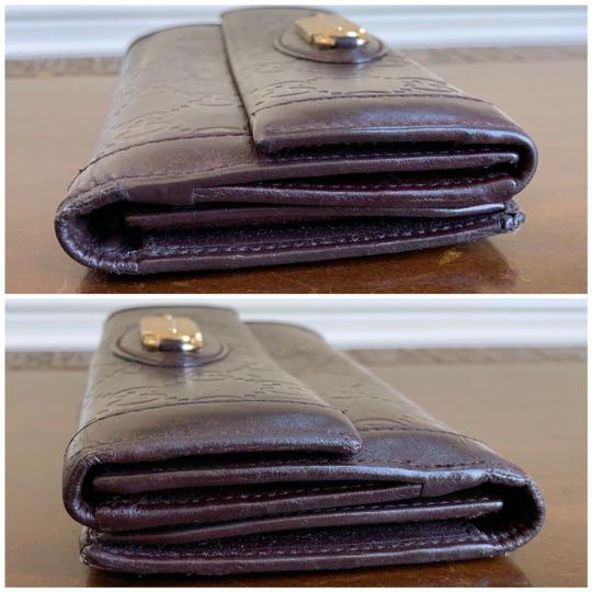 Gucci Guccissima Cocoa Brown Leather Continental Long Bifold Wallet 146199 Image 4