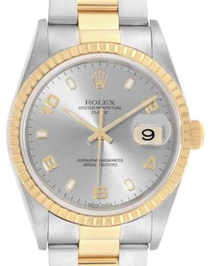 Rolex Rolex Date Steel Yellow Gold Slate Dial Mens Watch 15223