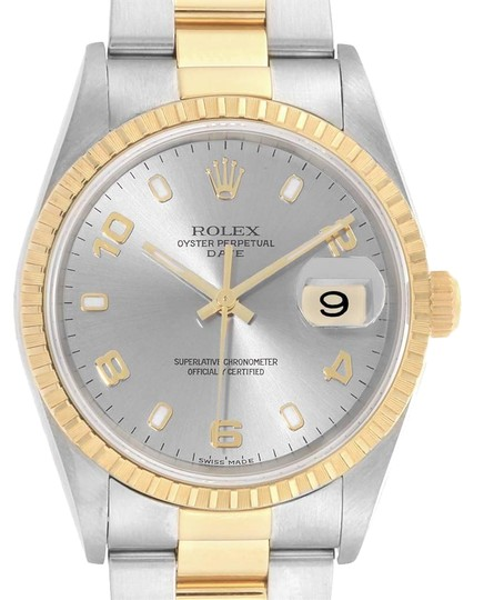 Preload https://img-static.tradesy.com/item/26059230/rolex-slate-steel-yellow-dial-mens-15223-watch-0-1-540-540.jpg
