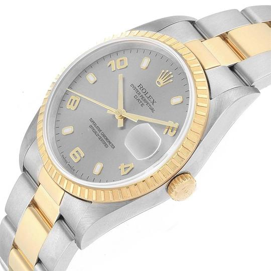 Rolex Rolex Date Steel Yellow Gold Slate Dial Mens Watch 15223 Image 4