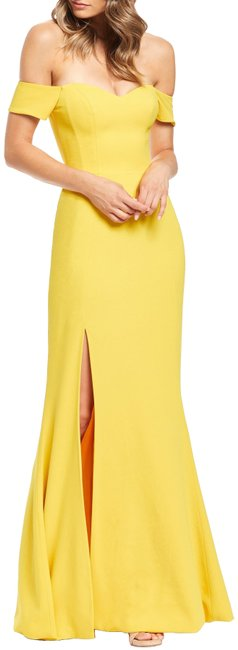 Preload https://img-static.tradesy.com/item/26059384/dress-the-population-yellow-logan-off-shoulder-evening-gown-long-formal-dress-size-12-l-0-1-650-650.jpg