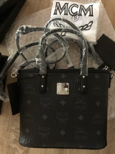 MCM Tote in Black Grey Image 5