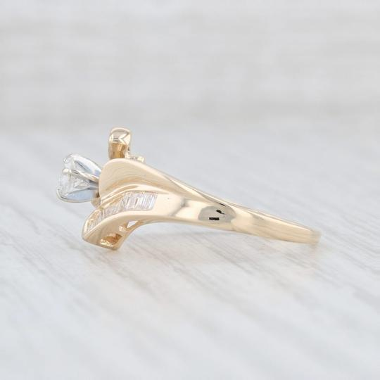 Yellow Gold .53ctw Diamond - 14k Size 7 Bypass Engagement Ring Image 2