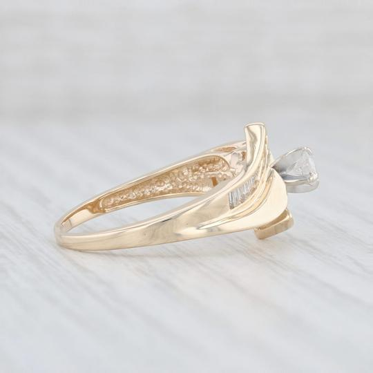 Yellow Gold .53ctw Diamond - 14k Size 7 Bypass Engagement Ring Image 4