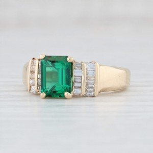Yellow Gold 1.87ctw Synthetic Emerald Diamond - 14k Size 7.5 Engagement Ring
