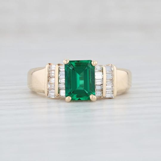 Yellow Gold 1.87ctw Synthetic Emerald Diamond - 14k Size 7.5 Engagement Ring Image 1