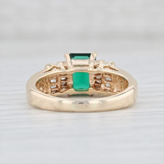 Yellow Gold 1.87ctw Synthetic Emerald Diamond - 14k Size 7.5 Engagement Ring Image 3