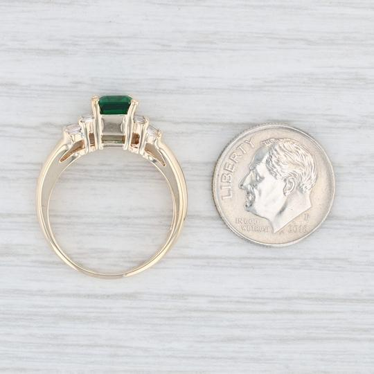 Yellow Gold 1.87ctw Synthetic Emerald Diamond - 14k Size 7.5 Engagement Ring Image 6