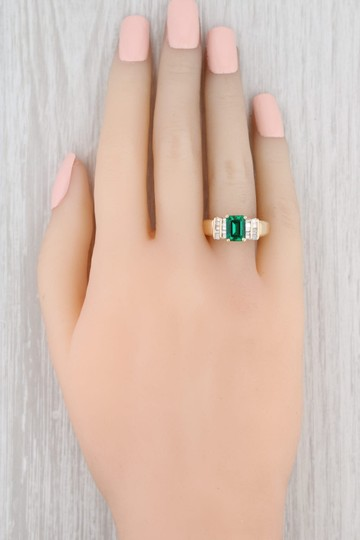 Yellow Gold 1.87ctw Synthetic Emerald Diamond - 14k Size 7.5 Engagement Ring Image 7