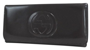 Gucci Authentic GUCCI GG mark Trifold Wallet Enamel leather