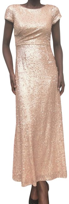 Item - Champagne Gold Sequined Evening Gown Long Formal Dress Size 6 (S)