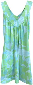 Lilly Pulitzer short dress Green, Tirquiose Floral Belted on Tradesy