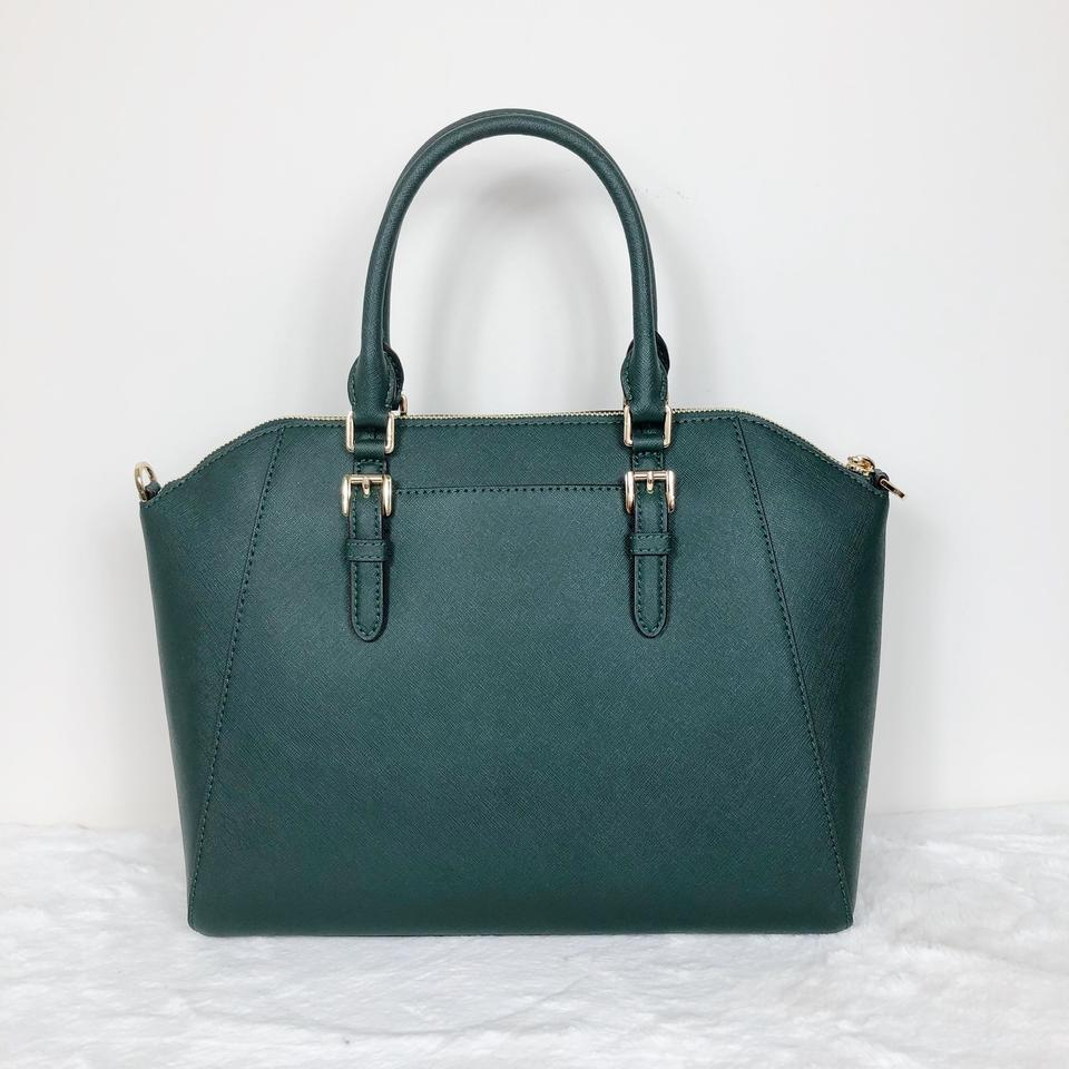 Michael Kors Bowling Bag Ciara Monogram Green Leather Satchel 41 Off Retail