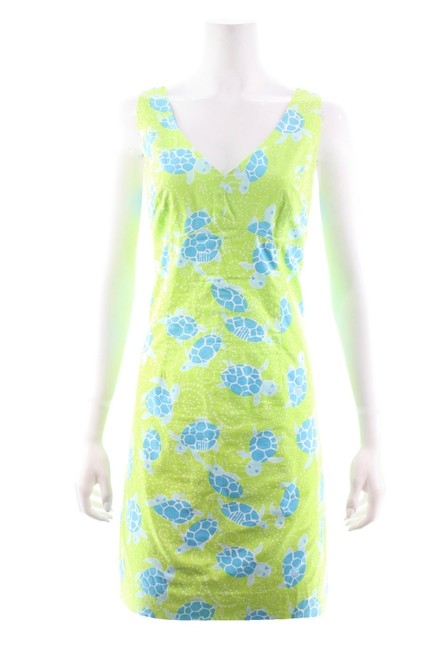 Item - Green Sleeveless Cotton with Blue Turtle Print Short Casual Dress Size 10 (M)