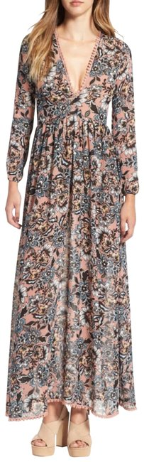 Item - Nude Floral Gracie Long Casual Maxi Dress Size 4 (S)