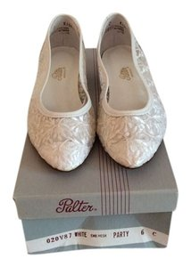 Palter Lace Look White Flats