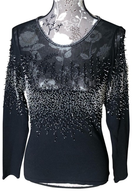 Dolce Cabo Mesh Long Sleeved Stretch Black/Glass Beads Top Dolce Cabo Mesh Long Sleeved Stretch Black/Glass Beads Top Image 1