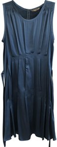 Vera Wang Silk Pleated Belted Dress