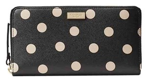 Kate Spade Shore Street Lacey Zip Arround Wallet Black/Deco Beige Color