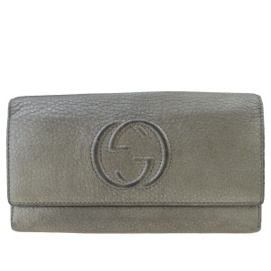 Gucci Authentic GUCCI GG Logo Long Bifold Wallet Purse Leather Khaki Italy