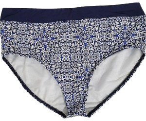 Lands' End Lands End Blue & White High Waist Bikini Bottom