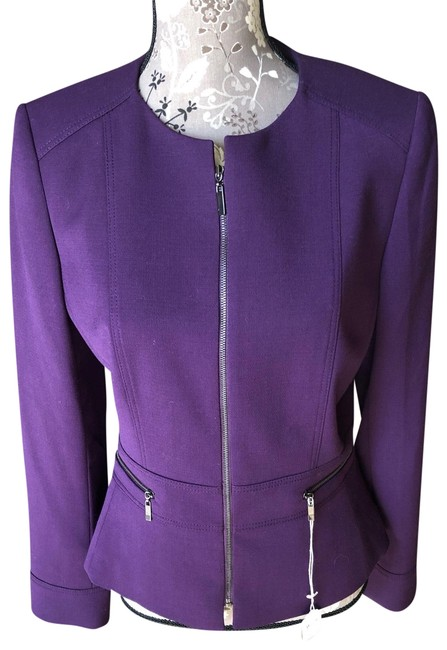 Item - Grape Purple Zip Front Long Sleeved Jacket Size 8 (M)