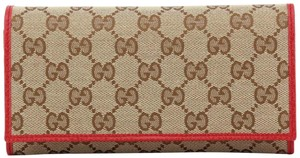 Gucci NEW Gucci Beige Red Canvas Leather GG Guccissima Continental Bifold Wallet 346058q