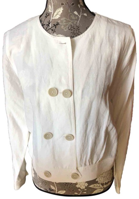 Item - Off-white L Double Breasted Linen L/Sleeved Jacket Size 10 (M)