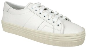 Saint Laurent Women's Leather Sneakers White Athletic