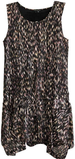 "Item - Black Tan Brown Red ""Rikina Flames"" Sleeveless Silk Mid-length Short Casual Dress Size 2 (XS)"