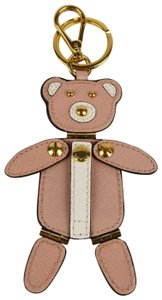 Prada Pink Leather Bear Cable Holder Key Chain Ring w/Moving Arms Legs