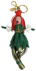 Prada Prada Green/Metallic Leather Red Hair Alice Doll Key Chain Ring