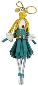 Prada Teal Silver Leather Alice Yellow Hair Doll Key Chain Ring 1TL172 Agata