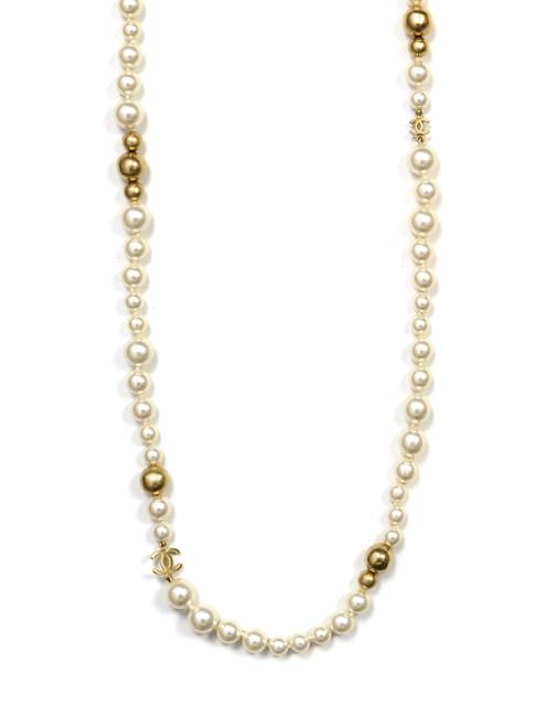 "Item - Ivory Gold 2007 Ivory/Gold Faux Pearl and Bead Cc 46"" Necklace"