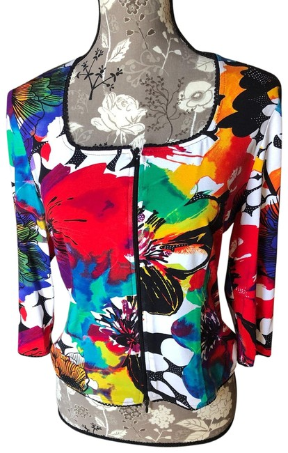 Item - Multi Bright Colored Floral Scoopneck Zip Jacket Size 8 (M)