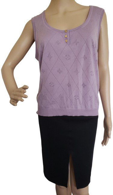 Item - Lavender Lv Print Sleeveless Knit Purple Sweater