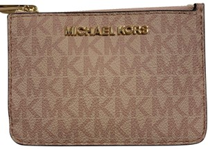 Michael Kors Jet Set Travel Ballet Pink Leather Coin Pouch Keychain Card Case