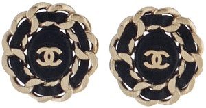 Chanel Gold-tone Leather CC Logo Clip-On