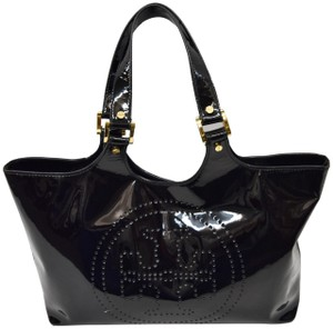 Tory Burch Patent Leather Perforated Tote in Black