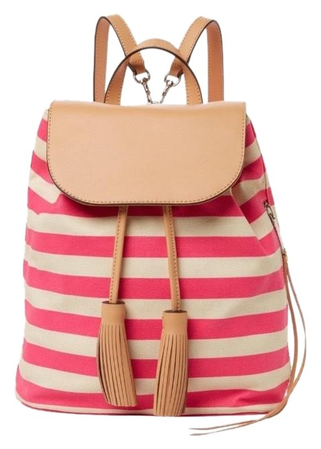 Item - Stripe Moto Creamy Ivory Stripes. Style Color Flamingo Pink and White Coated Canvas Backpack