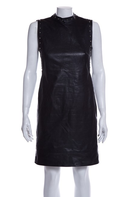 Item - Black Leather Studded Short Night Out Dress Size 4 (S)